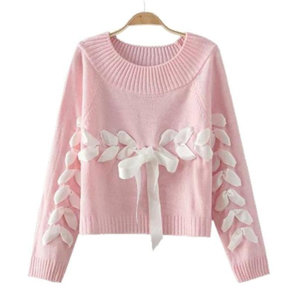 Kawaii Pastel Pink Lace UP Silk Ribbon Knit Sweater Sweatshirt Long Sleeve Winter Cute