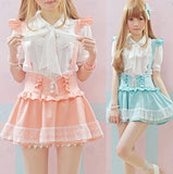 Kawaii School Girl Ruffled Skirt With Suspenders Overalls Dungarees Pastel Aesthetic Young Girl Lolita by Kawaii Babe