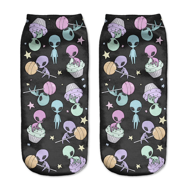 Pastel Goth Alien Cupcake Lollies Candy Socks Gothic Kawaii