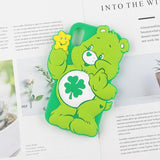 Green Lucky irish Care Bear 3D Rubber iPhone Case Apple Phone Cases Kawaii Cute
