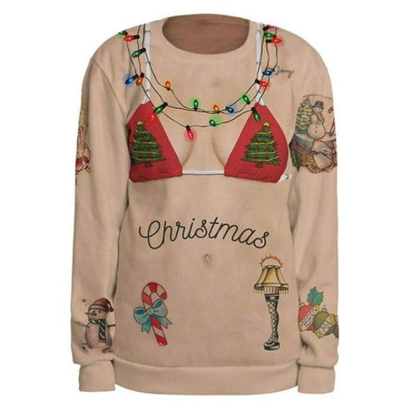 Christmas Holiday Ugly Sweater Bikini Funny Sweatshirt Festive Xmas Lights