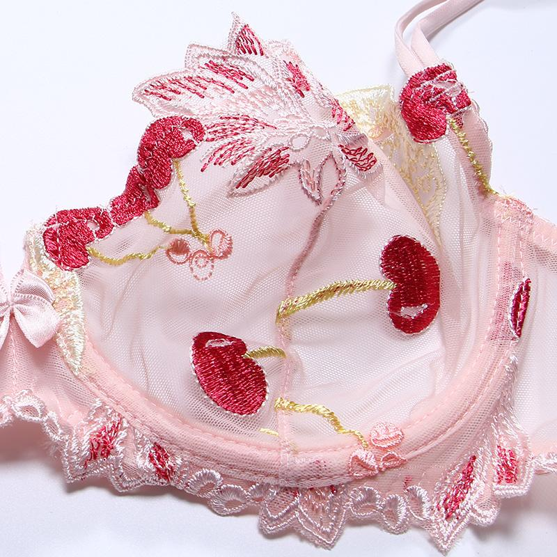 Pink Cherry Lingerie Set Bra & Panties Sexy Underwear Embroidered