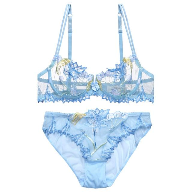Blue Cherry Lingerie Set Bra & Panties Sexy Underwear Embroidered