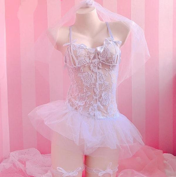 White Bride Lingerie Bodysuit Bridal Wedding Lace Tutu Skirt Headpiece Garter