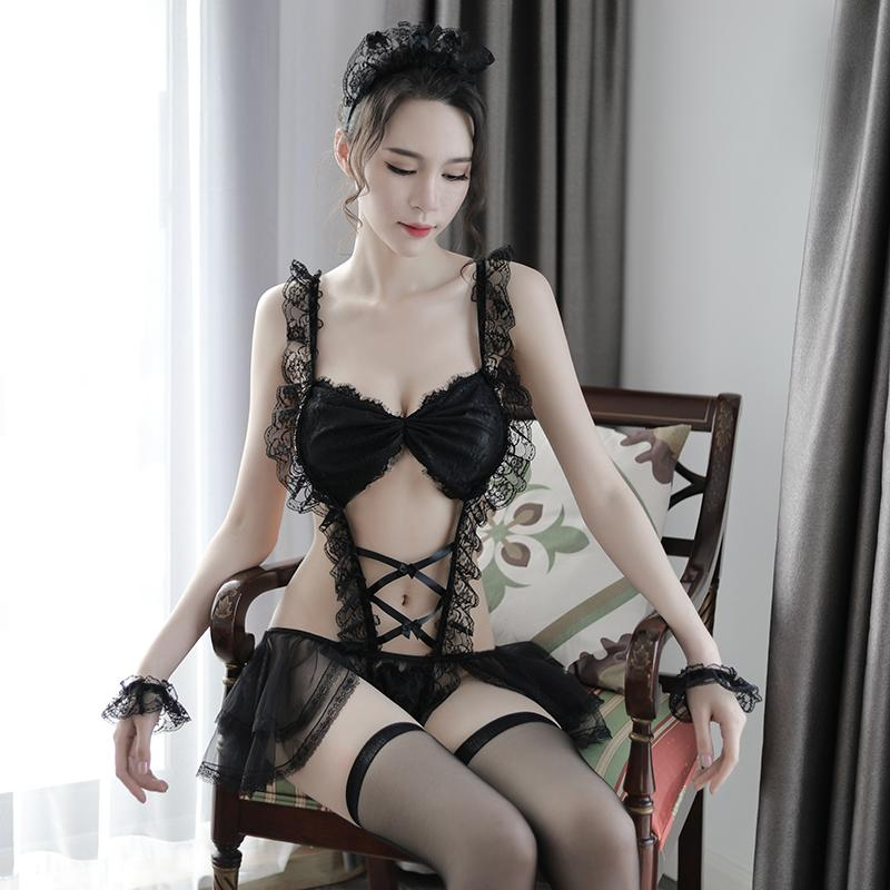 Sexy Black Lace Ruffled Corset Lingerie Set French Maid Sexy Costume Bra Panties Skirt Outfit