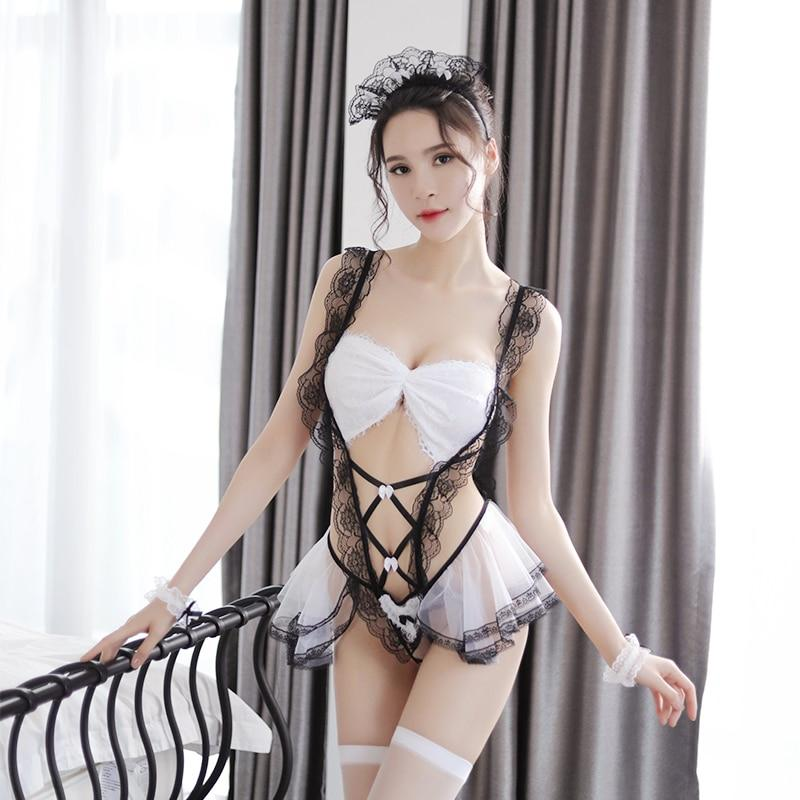 Sexy White Lace Ruffled Corset Lingerie Set French Maid Sexy Costume Bra Panties Skirt Outfit