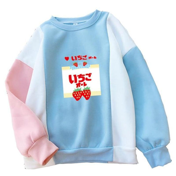 Strawberry Japanese Harajuku Crewneck Patchwork Sweater Sweatshirt Pullover Japan Street Fashion Fairy Kei