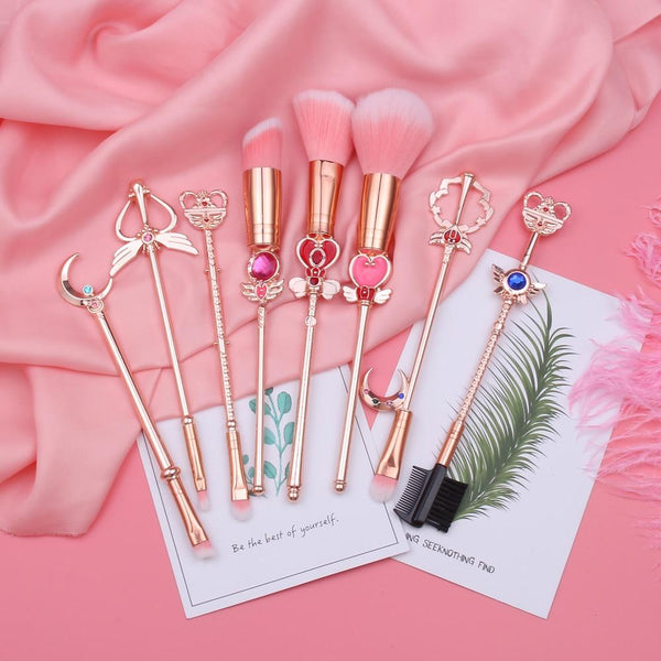 Sailor Moon Wand Make-up Brush Cosmetic Set Eyeshadow Blush Contour Kawaii Mahou Shoujo Card Captor Sakura