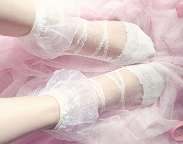Kawaii White Transparent Lace Ruffled Socks Ankle Stockings Lolita Fashion