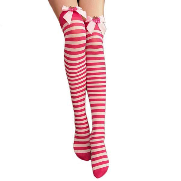 Kawaii Strawberry Stockings Striped Socks Knee High Thigh Highs