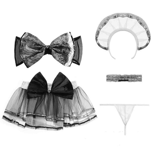 Sexy Maid Bow Lingerie Set Costume Cosplay French Mistress Housekeeper by DDLG Playground