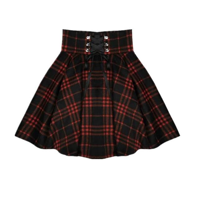 Red Plaid Skirt (Up to 4XL)