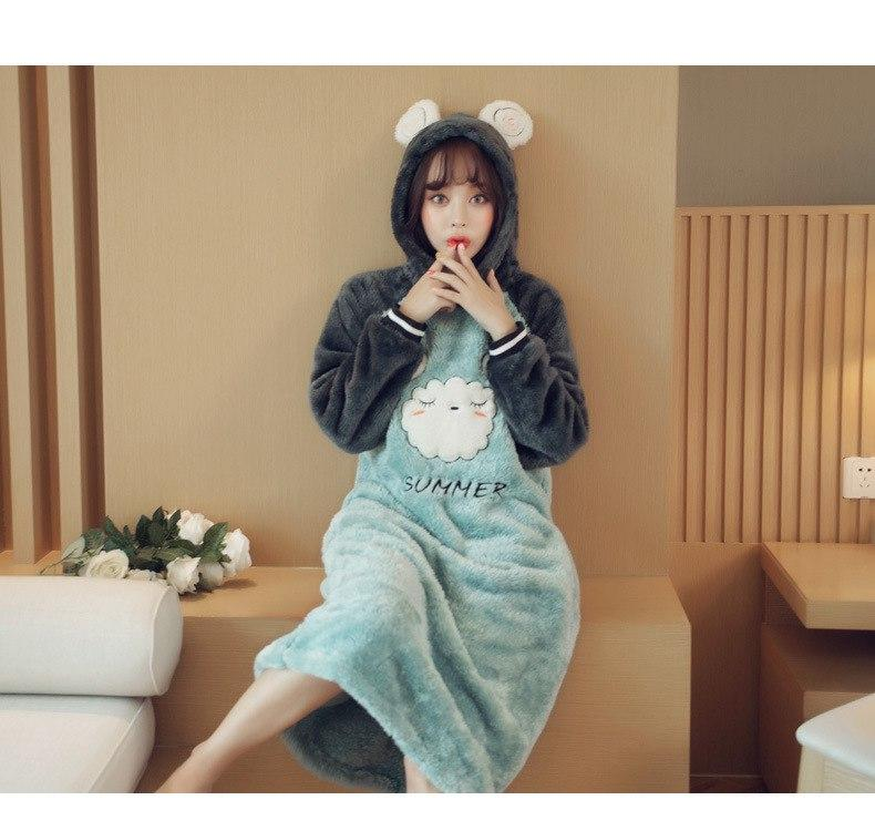 Hooded Furry Baby Bear Nightgown Night Dress Sleepwear Pajamas Pjs Hoodie Kawaii Kigurumi