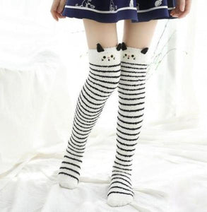 White Kitty Thigh Highs