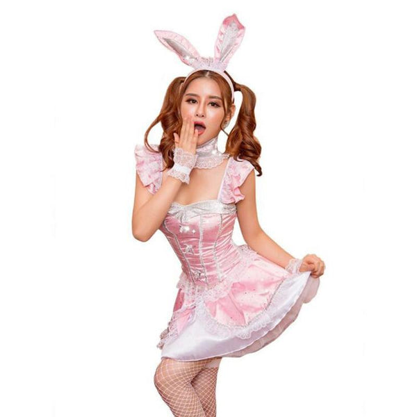 Kawaii Pink Bunny Rabbit Costume Cosplay Petplay Satin Dress by DDLG Playground
