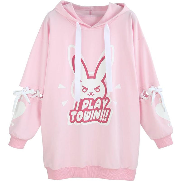 Pink I Play To Win Overwatch Hoodie Sweatshirt Sweater Kawaii Cute D.Va Gamer Anime