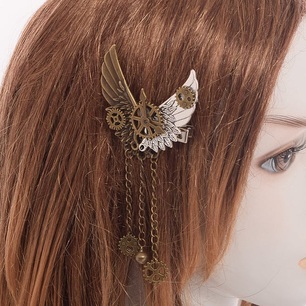 steampunk dieselpunk hair clip barette hairclip accessory clock gears cogs wheels brass copper victorian era fashion lolita by kawaii babe