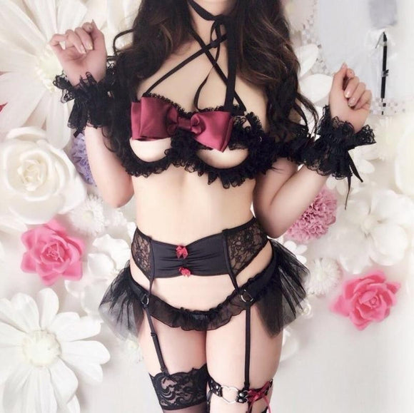Seductive Fetish Lingerie Set Garter Belt Devil Anime Cosplay Kinky Dominatrix