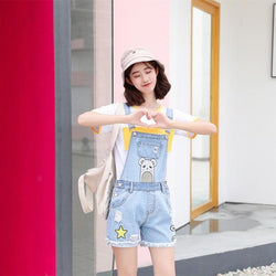 Kawaii Hamster Hamtaro Jean Denim Overalls Coveralls Jumpsuit Romper Shorts Baby Bear Littlespace