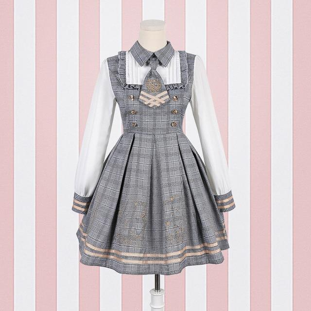 Grey Student Lolita Dress Costume Cosplay Mori Girl Kawaii Japan Fashion Tartan Plaid
