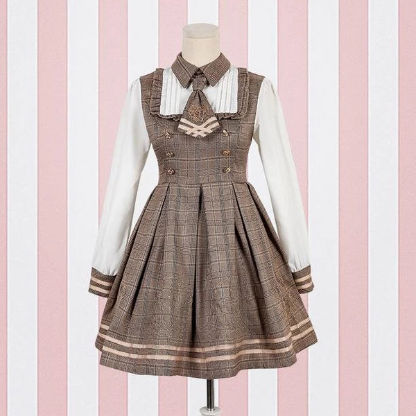 Brown Student Lolita Dress Costume Cosplay Mori Girl Kawaii Japan Fashion Tartan Plaid