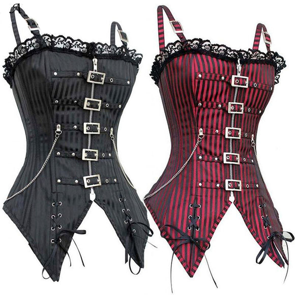 sexy punk rock corset edgy goth fashion waist trainer hourglass figure buckled leather lace up strappy tank top