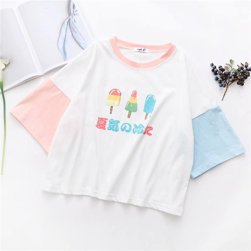 Pastel Fairy Kei Japanese Popsicle Icecream T-shirt Tee Cute Kawaii