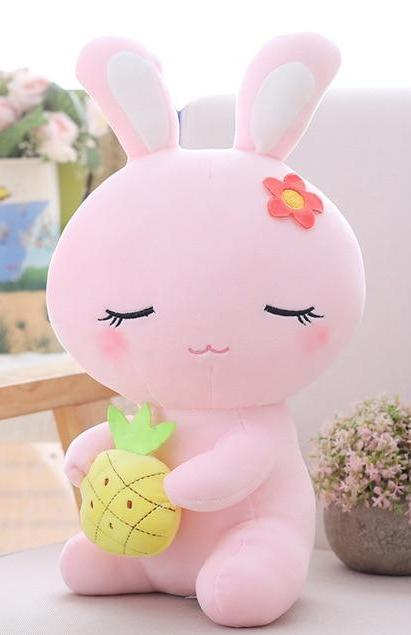 Pink Pineapple Sleepy Bunny Plush Baby Bun Rabbit Stuffed Animal ABDL Ageplay