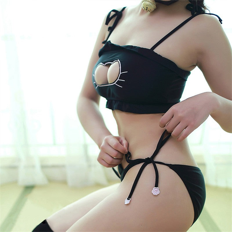 kitty cat neko manga anime girl lingerie bra and panties underwear undies set pet play zoophilia petplay kitten play fun outfit cosplay costume