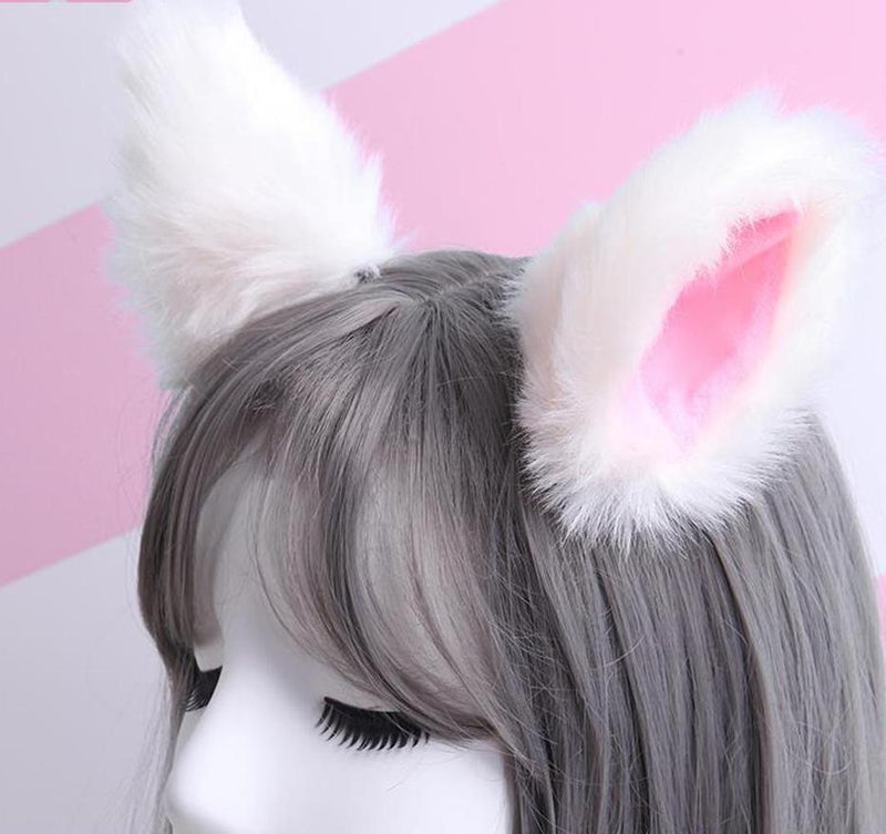 White Furry Soft Neko Ears Clip In Cat Ears Fox Ears Petplay Kink Fetish Furries