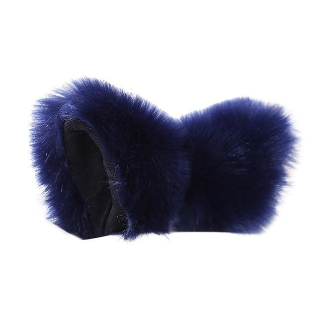 Navy Blue Furry Soft Neko Ears Clip In Cat Ears Fox Ears Petplay Kink Fetish Furries