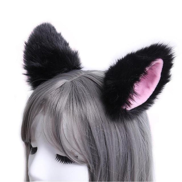 Black Furry Soft Neko Ears Clip In Cat Ears Fox Ears Petplay Kink Fetish Furries