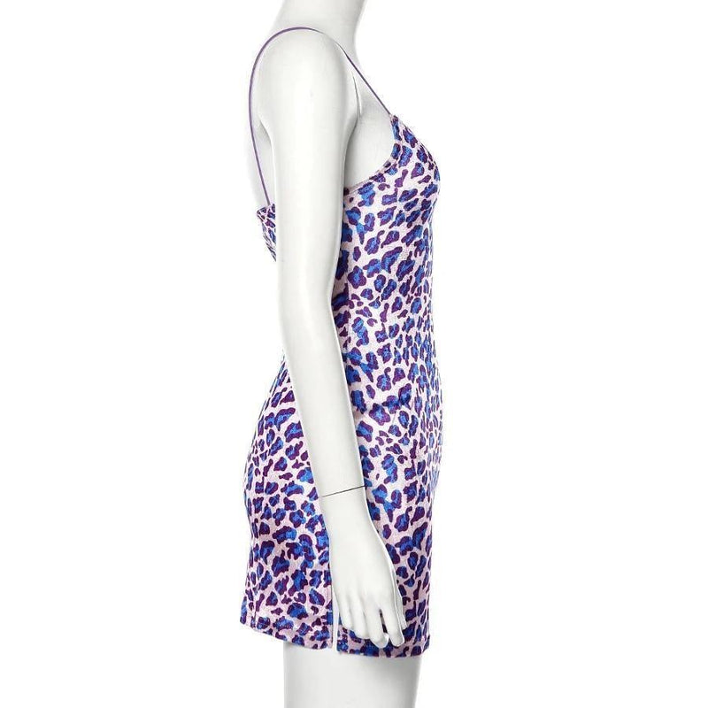 Purple Leopard Velour Dress - dress
