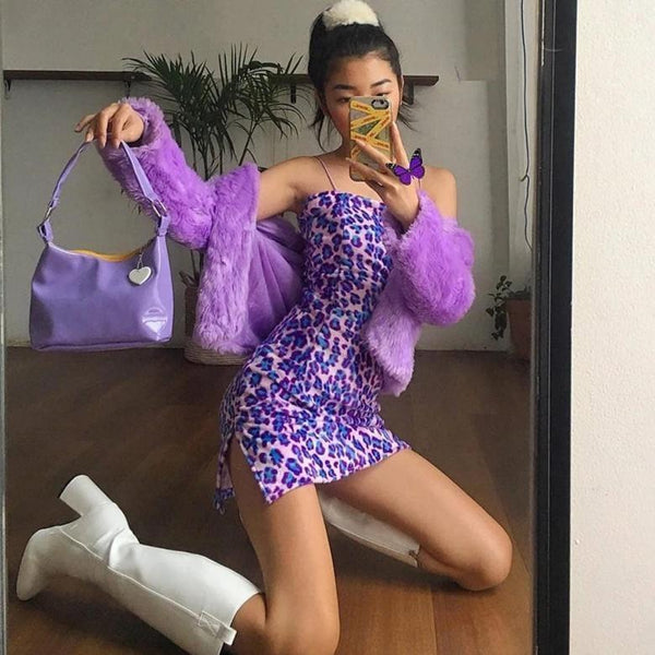 Purple Leopard Velour Dress - L - dress