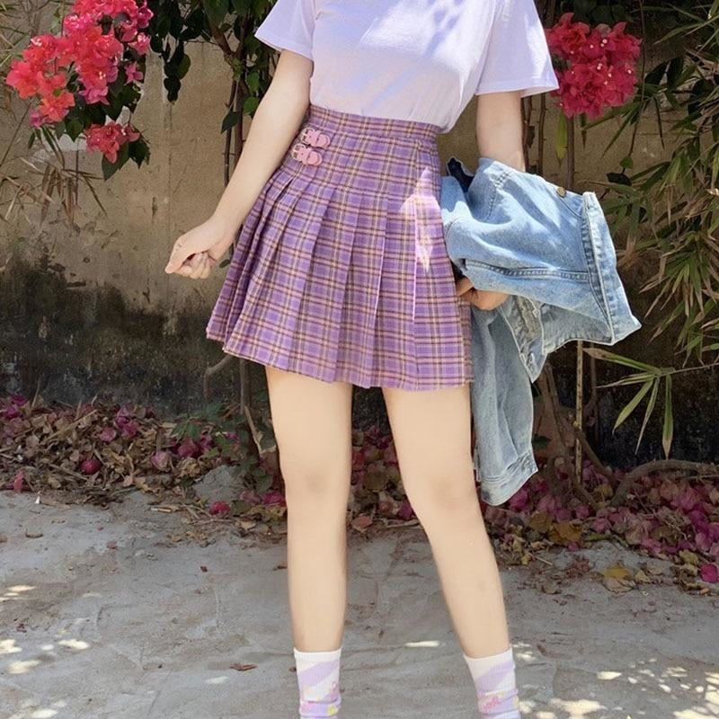 Purple Plaid Pleated High Waist Tennis Skirt Pleated Harajuku K-Pop Kawaii Fashion