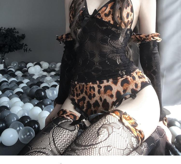 Purring Princess Bodysuit Set - black lace, bodysuits, cat ears, kawaii, kawaii lingerie