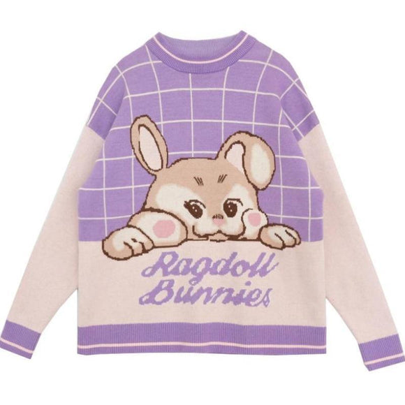 Purple Bunny Rabbit Knit Sweatshirt Fairy Kei Pullover Kawaii Harajuku Fashion