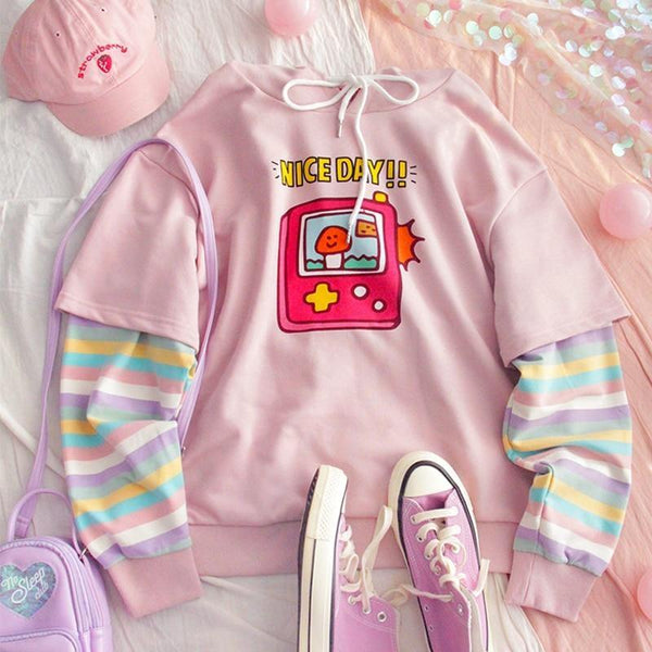 Rainbow Gameboy Hoodie - sweater
