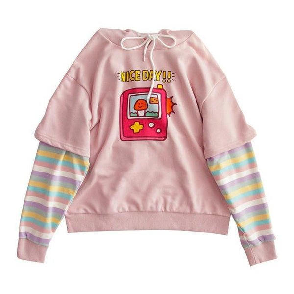 Rainbow Gameboy Hoodie - Pink / S - sweater