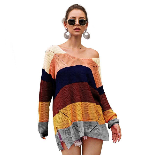Rainbow Sweater Dress - dress