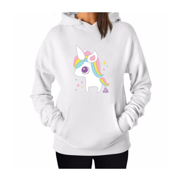 White Magical Rainbow Unicorn Hoodie Pullover Sweatshirt Sweater Kangaroo Pouch Kawaii