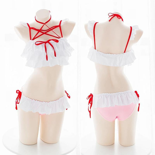 White Red Pentagram Frilly Girly Lingerie Set Fetish Kink Bra And Panty Set Costume by DDLG Playground