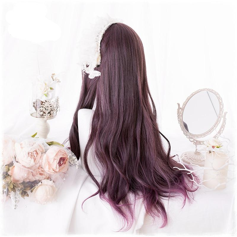 Dark Red Long Cosplay Lolita Wig Hair Harajuku Japan Fashion