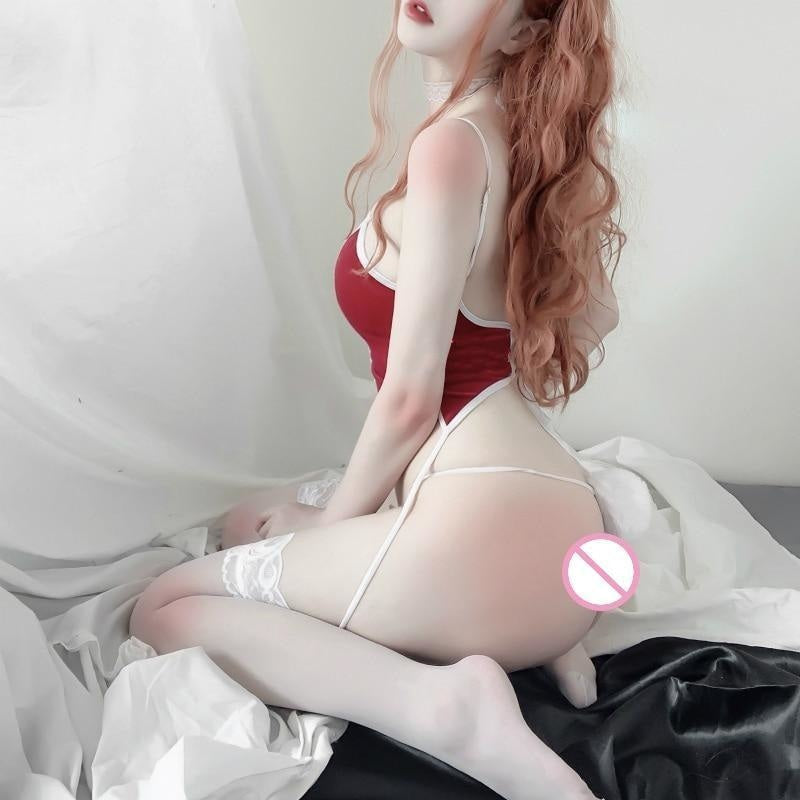 Red Ribbon Bunny Set - lingerie