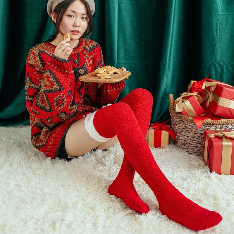 Red Santa Thigh Highs - socks