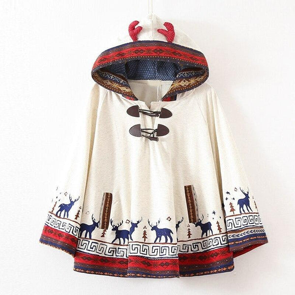 Reindeer Knit Holiday Poncho - Gray - hoodie