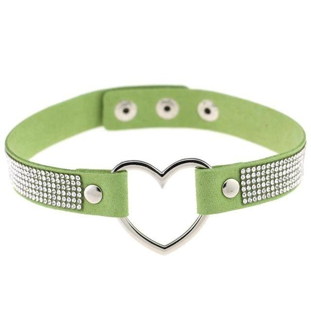 Green Rhinestone Diamond Choker Kinky Collar Necklace BDSM Princess by DDLG Playground