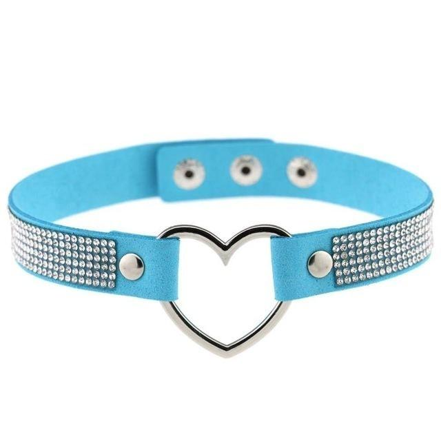 Blue Rhinestone Diamond Choker Necklace Kinky Collar Necklace BDSM Princess by DDLG Playground