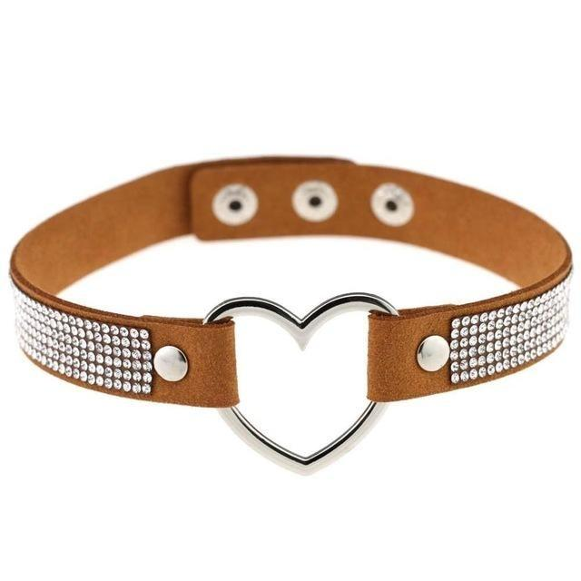 Tan Rhinestone Diamond Choker Kinky Collar Necklace BDSM Princess by DDLG Playground