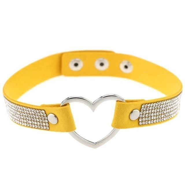 Yellow Rhinestone Diamond Choker Kinky Collar Necklace BDSM Princess by DDLG Playground